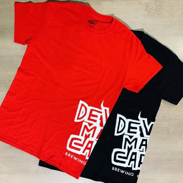 Two DMC-branded T-shirts facing front