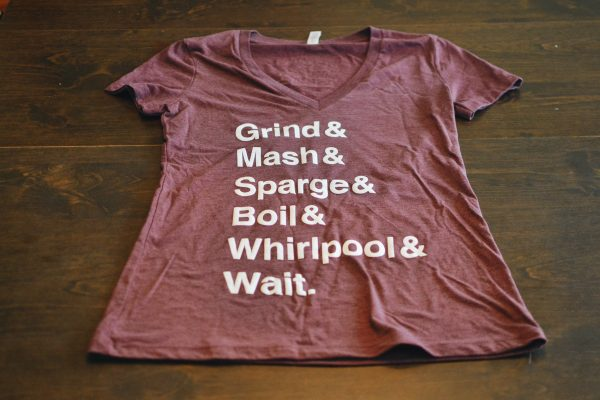 Maroon women's V-neck t-shirt